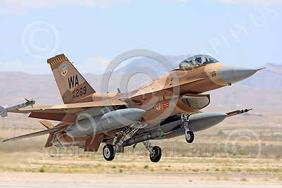 AGGR 00188 A USAF Lockheed Martin F-16 Fighting Falcon jet fighter, 86269 WA code, 57th Wing AGGRESSOR, on final to land at Nellis AFB, military airplane picture, by Carl E Porter