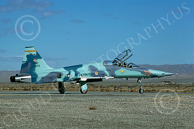 F-5USAF 00015 Northrop F-5F Freedom Fighter USAF 30073 AGGRESSOR Nellis AFB January 1984 by Rene J Francillon
