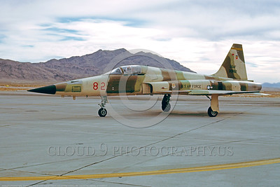 F-5USAF 00007 Northrop F-5E Freedom Fighter USAF 30882 AGGRESSORS Nellis AFB Feb 1981 by Peter B Lewis      DONEwt copy
