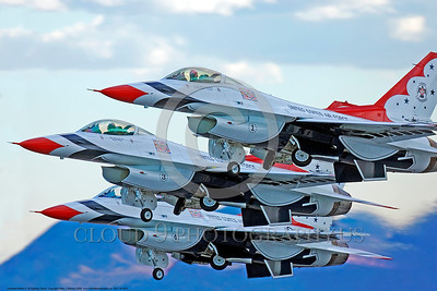 TB-F-16 0022 A tight crop of three USAF Lockheed Martin F-16 Fighting Falcon jet fighters THUNDERBIRDS flight demo team taking off at Nellis AFB 2009 military airplane picture by Peter J Mancus      DONEwt