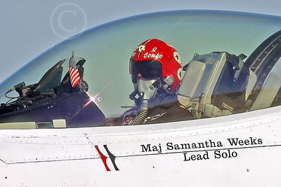 ACM 00386 USAF F-16 Fighting Falcon Thunderbird Lead Solo pilot Major Samantha Weeks by Peter J Mancus