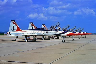 TB-T-38 003 A static Northrop T-38 Talon, USAF Thunderbirds No  1, 9-1974 Langley AFB, via Stephen W  D  Wolf coll   DDD_1244   Dt