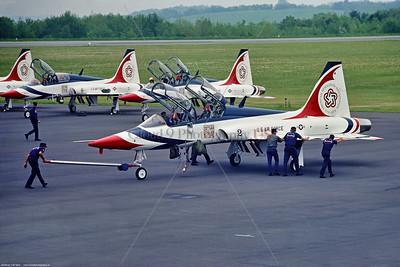 TB-T-38 005 A pushed Northrop T-38 Talon, USAF Thunderbirds No  2, Bicentennial markings, 6-1976, via Stephen W  D  Wolf coll   GGG_0953   Dt