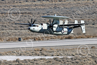 E-2USN 00266 A Grumman E-2 Hawkeye US Navy TOP GUN climbs out after taking off at NAS Fallon 1-2015 military airplane picture by Peter J Mancus