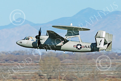 E-2USN 00278 A Grumman E-2 Hawkeye US Navy 164352 TOP GUN climbs out after taking off at NAS Fallon 1-2015 military airplane picture by Peter J Mancus