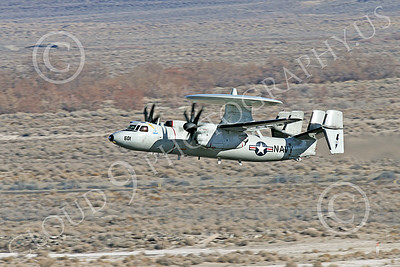 E-2USN 00256 A Grumman E-2 Hawkeye US Navy 164352 TOP GUN climbs out after taking off at NAS Fallon 1-2015 military airplane picture by Peter J Mancus