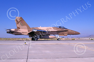 TOPG 00103 A taxing brown McDonnell Douglas F-18A Hornet USN 162906 TOP GUN NAS Fallon 9-1996 military airplane picture by Michael Grove, Sr