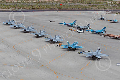 TOPG 00203 Boeing F-18 Hornets and Lockheed Martin F-16 Fighting Falcons US Navy TOP GUN Naval Strike Air Warfare Center NSAWC NAS Fallon June 2010, by Peter J Mancus