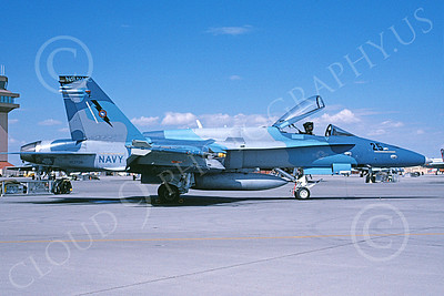 TOPG 00123 A static blue McDonnell Douglas F-18C Hornet USN 163708 TOP GUN NAS Fallon 9-2007 military airplane picture by Michael Grove, Sr