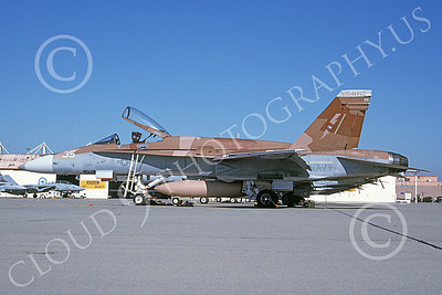 TOPG 00105 A static brown McDonnell Douglas F-18A Hornet USN 162844 TOP GUN NAS Miramar 10-1997 military airplane picture by Michael Grove, Sr