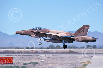 TOPG 00096 A landing brown McDonnell Douglas F-18A Hornet USN 162901 TOP GUN NAS Fallon 6-2000 military airplane picture by Michael Grove, Sr