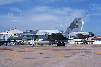 TOPG 00119 A static gray McDonnell Douglas F-18C Hornet USN 162891 TOP GUN NAS Miramar 4-1996 military airplane picture by Michael Grove, Sr