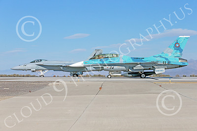 TOPG 00047 A blue Lockheed Martin F-16 Fighting Falcon and a gray Boeing F-18E Super Hornet USN TOP GUN on NAS Fallon's runway 10-2013 military airplane picture by Peter J Mancus