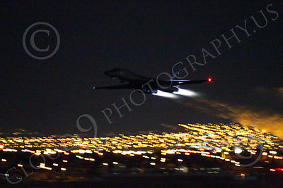 AB - B-1 00180 Rockwell B-1 Lancer USAF in afterburner at night military airplane picture by Peter J Mancus