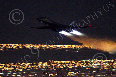 AB - B-1 00176 Rockwell B-1 Lancer USAF in afterburner at night military airplane picture by Peter J Mancus