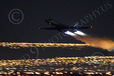 AB - B-1 00220 Rockwell B-1 Lancer USAF in afterburner at night military airplane picture by Peter J Mancus