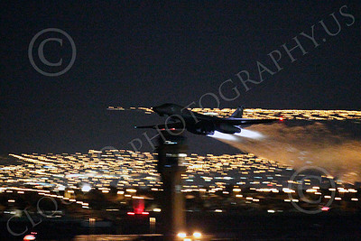 AB - B-1 00184 Rockwell B-1 Lancer USAF in afterburner at night military airplane picture by Peter J Mancus