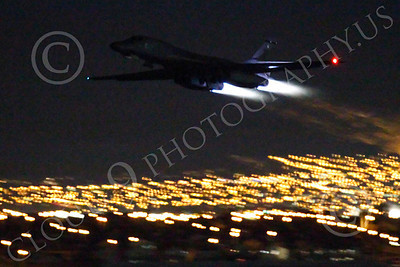 AB - B-1 00168 Rockwell B-1 Lancer USAF in afterburner at night military airplane picture by Peter J Mancus