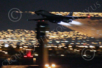 AB - B-1 00192 Rockwell B-1 Lancer USAF in afterburner at night military airplane picture by Peter J Mancus
