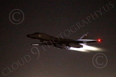 AB - B-1 00160 Rockwell B-1 Lancer USAF in afterburner at night military airplane picture by Peter J Mancus
