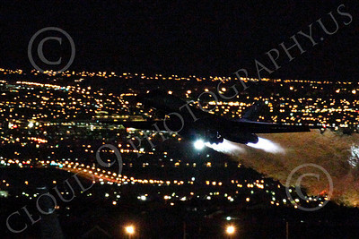 AB - B-1 00196 Rockwell B-1 Lancer USAF in afterburner at night military airplane picture by Peter J Mancus