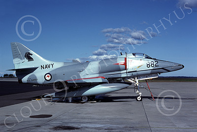 A-4Forg 00002 A static Australian Navy Douglas A-4G Skyhawk attack jet, 154903 882 14 July 1983, military airplane picture, by Robert N Smith