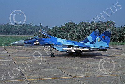 MiG-29 00079 A static blue Mikoyan-Guryevich MiG-29 Fulcrum Bangladesh Air Force with missiles military airplane picture by Rogier Westerhuis