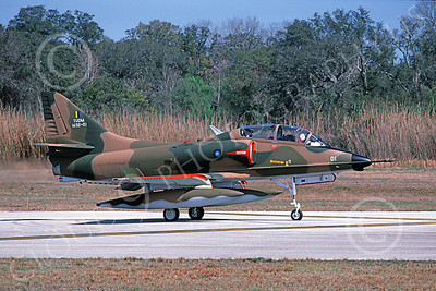 A-4Forg 00032 A taxing Brazilian Navy Douglas TA-4 Skyhawk attack jet, military airplane picture, St Augistine 3-1985, by Ron Picciani