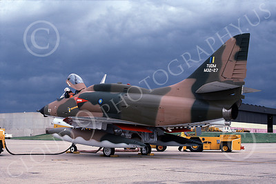 A-4Forg 00033 A static Brazilian Navy Douglas A-4 Skyhawk attack jet, military airplane picture, NAS Willow-Grove 6-1985, by Ron Picciani