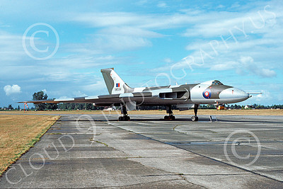 Avro Vulcan 00009 A static Avro Vulcan jet bomber British RAF XM594 Abbottsford 8-1976 military airplane picture by Michael Grove, Sr