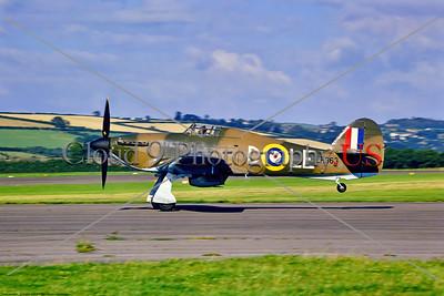 WB-Hawker Hurricane 089 A Hawker Hurricane warbird in British RAF WWII era markings landing  8-1969 Chivenor, warbird picture by Stephen W  D  Wolf     853_7644     Dt