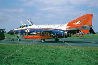 F-4II-British RAF 0003 A towed McDonnell Douglas FG1 [F-4] Phantom II British RAF jet fighter XT597, Boscombe Down, 9-1991 military airplane picture by Walter York     DWT copy