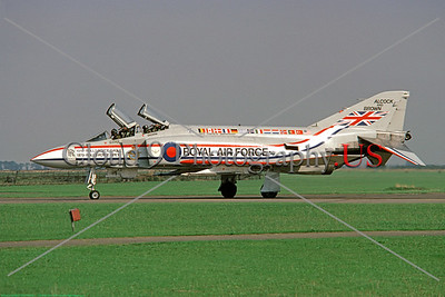"""F-4II-BritishRAF 0001 A taxing McDonnell Douglas FGR 2 Phantom II British RAF jet fighter in """"Alcock and Brown"""" markings, 7-1979, military airplane picture by Jeff Hampton     DWT copy"""