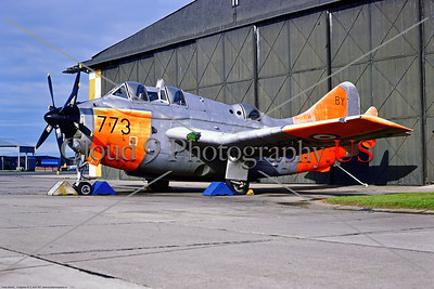 Gannet 002 A static Fairey Gannet with extensive day-glo, British Royal Navy carrier-borne ASW aircraft, XG883, 7-1971 Yeovilton, military airplane picture by Stephen W  D  Wolf     11A_0860     Dt