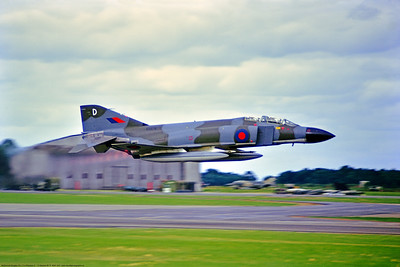 F-4II-BRAF 002 A McDonnell Douglas FG 1 F-4 Phantom II British RAF XV576 43 Sqdn take off and low climb out in afterburner Alconbury 6-1975 military airplane picture by Stephen W  D  Wolf     BBB_4977     DoneWT