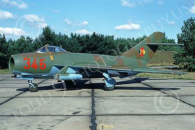 Mikoyan-Guryevich MiG-17 Fresco 00007 A static brown-green East German Air Force MiG-17 Fresco jet fighter, 9-1990, by Meinolf Krassort D