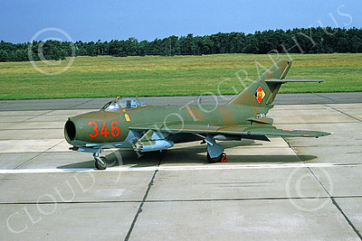 Mikoyan-Guryevich MiG-17 Fresco 00009 A static brown-green East German Air Force MiG-17 Fresco jet fighter, 7-1991, by Wilfried Zetsche
