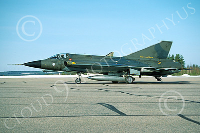 SAAB Draken 00011 A taxing SAAB Draken 355 Finnish Air Force 6-1994 military airplane picture by Jyrki Laukkanen
