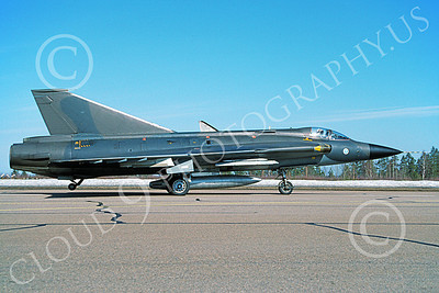 SAAB Draken 00013 A taxing SAAB Draken 355 Finnish Air Force 7-1994 military airplane picture by Jyrki Laukkanen