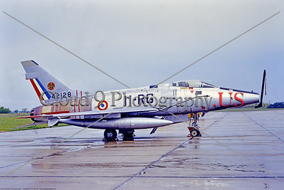 F-100-French 001 A static North American F-100D Super Sabre, French Air Force 42128, a Cold War era supersonic jet fighter, 5-1971 Meyenheim, military airplane picture by Stephen W  D  Wolf     11A_0527     Dt