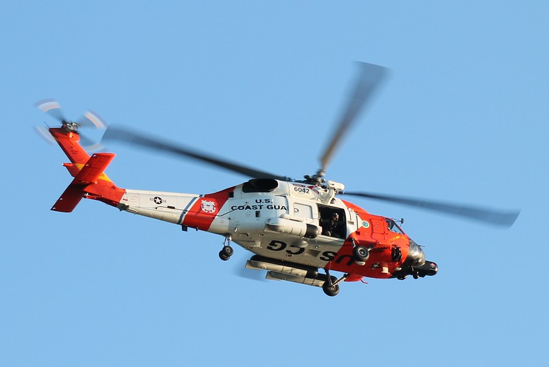 USCG RESCUE 6042 from CGAS Cape Cod over Lighthouse Point, New Haven, CT 7-5-2014