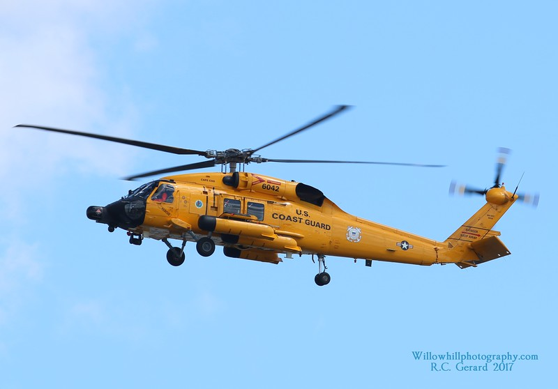 MH-60T 6042 from Cape Cod over Thames River 9-9-17