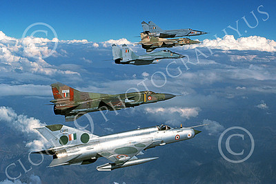 MiG-21 00070 A flying Mikoyan-Guryevich MiG-21 Fishbed Indian Air Force in formation 10-1990 military airplane picture by P Steinemann