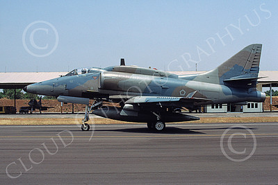 A-4Forg 00007 A taxing Indonesian Air Force Douglas A-4E Skyhawk attack jet, TT-0402, Hasanuddin 28 Aug 2002, military airplane picture, by Bettaro Segio