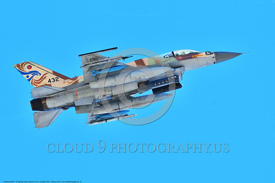 F-16-Israeli 0034 A flying Lockheed Martin F-16 Fighting Falcon Israeli Air Force 432 jet fighter with bombs during a Nellis AFB 8-2016 Red Flag exercise military airplane picture by Peter J  Mancus
