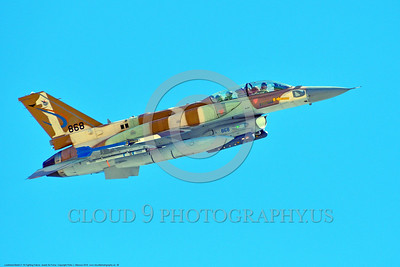 F-16-Israeli 0026 A flying Lockheed Martin F-16 Fighting Falcon Israeli Air Force 868 jet fighter during a Nellis AFB 8-2016 Red Flag exercise military airplane picture by Peter J  Mancus