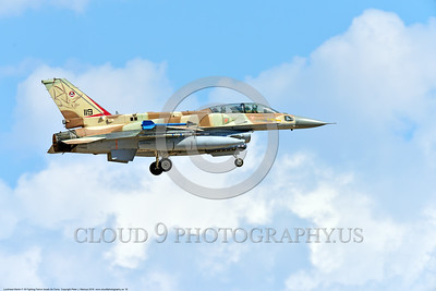 F-16-Israeli 0052 A landing Lockheed Martin F-16 Fighting Falcon Israeli Air Force 119 jet fighter during a Nellis AFB 8-2016 Red Flag exercise military airplane picture by Peter J  Mancus