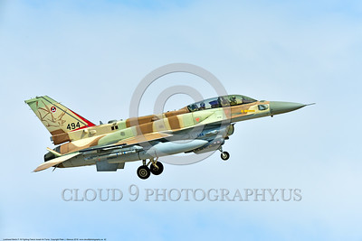 F-16-Israeli 0042 A landing Lockheed Martin F-16 Fighting Falcon Israeli Air Force 494 jet fighter during a Nellis AFB 8-2016 Red Flag exercise military airplane picture by Peter J  Mancus