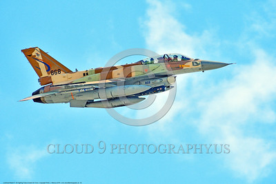 F-16-Israeli 0032 A flying Lockheed Martin F-16 Fighting Falcon Israeli Air Force 868 jet fighter during a Nellis AFB 8-2016 Red Flag exercise military airplane picture by Peter J  Mancus