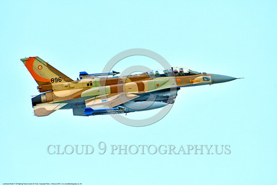 F-16-Israeli 0064 A flying Lockheed Martin F-16 Fighting Falcon Israeli Air Force 896 jet fighter during a Nellis AFB 8-2016 Red Flag exercise military airplane picture by Peter J  Mancus